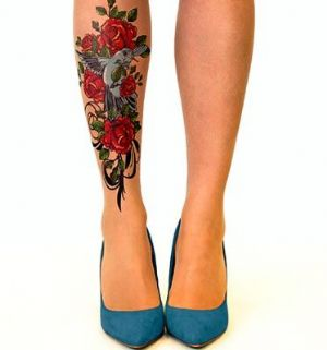 Stop and Stare Handpainted Tattoo Tights with  Birds & Roses